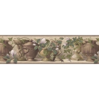 7 in x 15 ft Prepasted Wallpaper Borders - White Flower Green Grapes Pot Wall Paper Border
