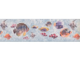 Prepasted Wallpaper Borders - Bluish Grey Under The Sea Wall Paper Border