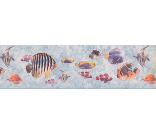 Sea World Wall Borders: Bluish Grey Under The Sea Wallpaper Border