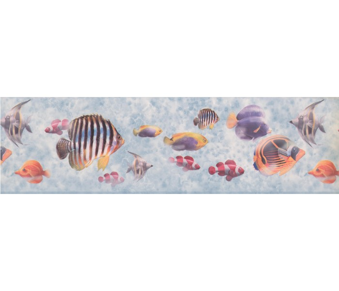 Sea World Wall Borders: Bluish Grey Under The Sea Wallpaper Border