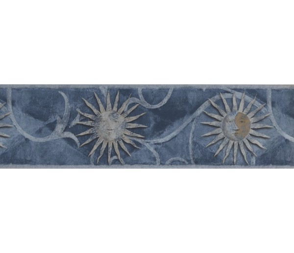 Vintage Wallpaper Borders: Silver Blue Moon Sun Wallpaper Border