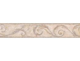 Taupe Leaf Scroll Wallpaper Border