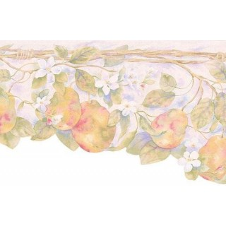 8 in x 15 ft Prepasted Wallpaper Borders - Pink Scalloped Pears Wall Paper Border