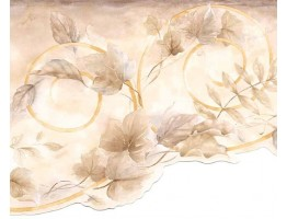 Prepasted Wallpaper Borders - Brown Leaf Scroll Wall Paper Border