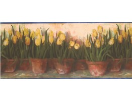 10 in x 15 ft Prepasted Wallpaper Borders - Yellow Tulips Wall Paper Border