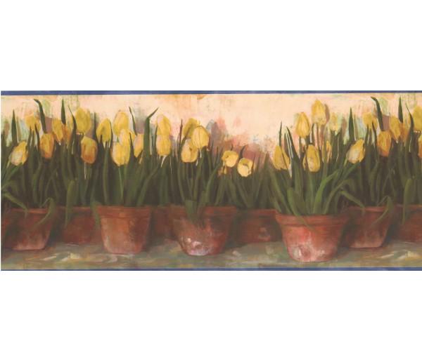 Garden Wallpaper Borders: Yellow Tulips Wallpaper Border