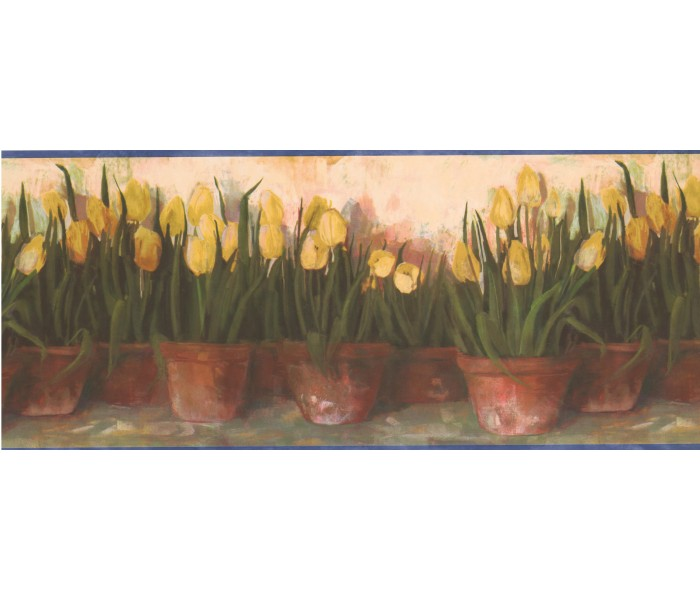 Garden Wallpaper Borders: Yellow Tulips Wallpaper Border