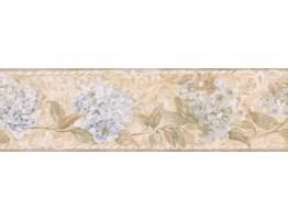 Brown Hydrangea Vine Wallpaper Border