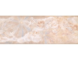 9 in x 15 ft Prepasted Wallpaper Borders - Star White Angel Wall Paper Border