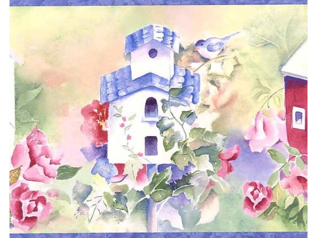 Purple Birdhouses Wallpaper Border