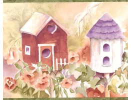 Prepasted Wallpaper Borders - Green Birdhouses Wall Paper Border