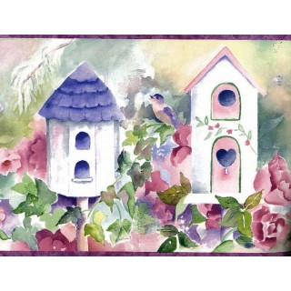 9 in x 15 ft Prepasted Wallpaper Borders - Moss Birdhouses Flowers Wall Paper Border