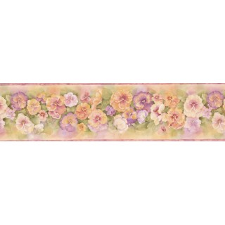 5 1/2 in x 15 ft Prepasted Wallpaper Borders - Pink Orange Watercolor Impatiens Wall Paper Border