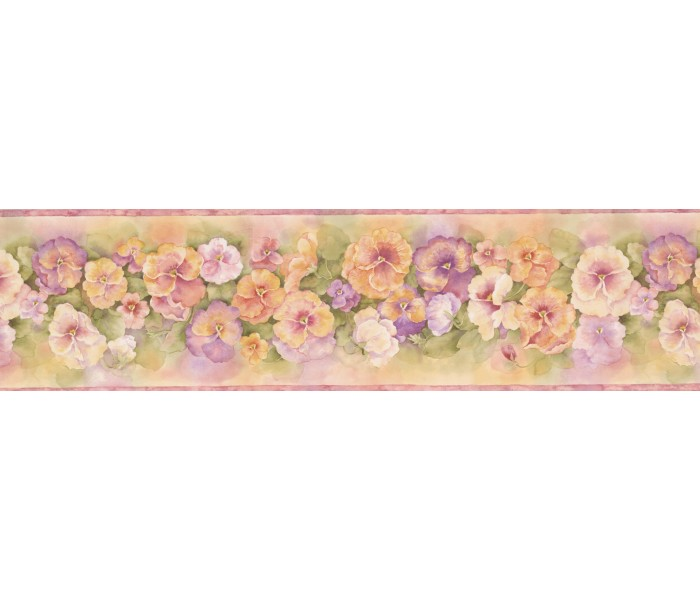 Floral Wallpaper Borders: Pink Orange Watercolor Impatiens Wallpaper Border