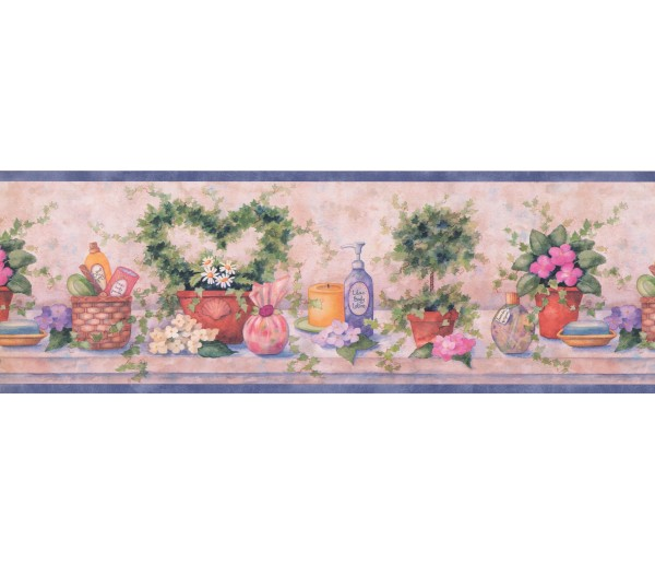 Floral Bathroom Wallpaper Border 37221 SI