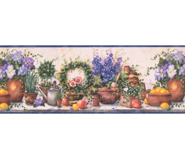 Garden Borders Blue Gardening SI37231B Wallpaper Border