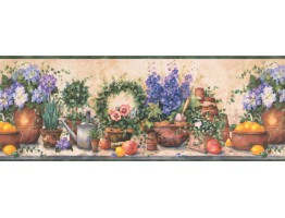 Prepasted Wallpaper Borders - Green Gardening Wall Paper Border