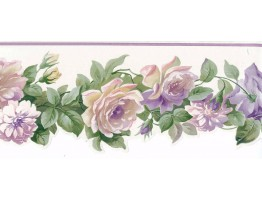 Prepasted Wallpaper Borders - Running White Roses Wall Paper Border