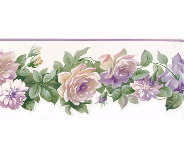 Floral Wallpaper Borders: Running White Roses Wallpaper Border