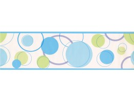 7 in x 15 ft Prepasted Wallpaper Borders - Blue Green Circle PaintWall Paper Border