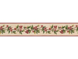 Prepasted Wallpaper Borders - Red Tiny Cherries Wall Paper Border