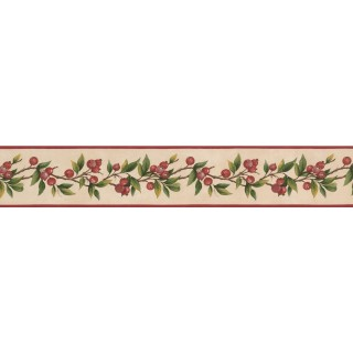 4 in x 15 ft Prepasted Wallpaper Borders - Red Tiny Cherries Wall Paper Border