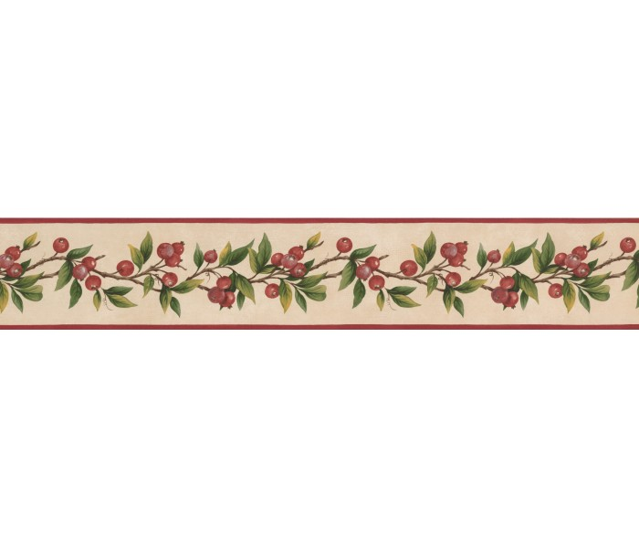 Clearance: Red Tiny Cherries Wallpaper Border