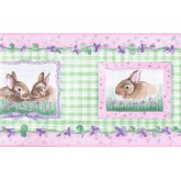 Rabbits Wallpaper Borders: Girl Green Rabbits Floral Wallpaper Border