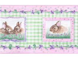 Prepasted Wallpaper Borders - Girl Green Rabbits Floral Wall Paper Border