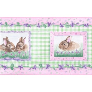 6 1/2 in x 15 ft Prepasted Wallpaper Borders - Girl Green Rabbits Floral Wall Paper Border