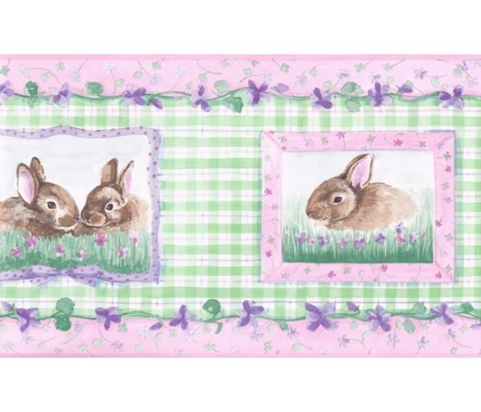 Rabbits Wallpaper Borders: Girl Green Rabbits Floral Wallpaper Border