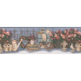 Garden Wallpaper Borders: Red White Flower Jar Wallpaper Border
