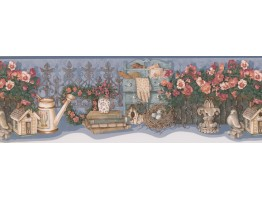 Prepasted Wallpaper Borders - Red White Flower Jar Wall Paper Border