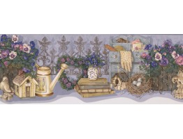 Prepasted Wallpaper Borders - Lavender Flower Garden Set Wall Paper Border