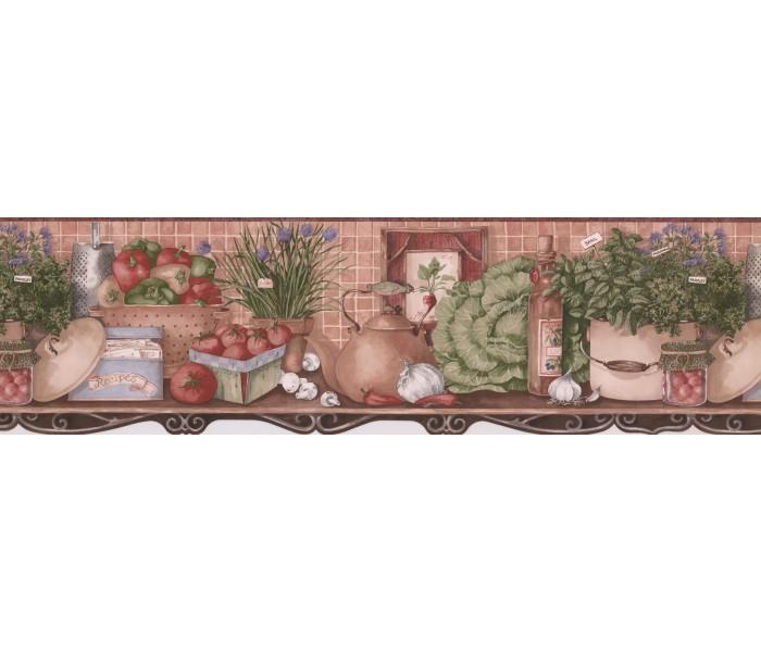 Kitchen Wallpaper Borders: Fresh Vegetable Recipes Wallpaper Border