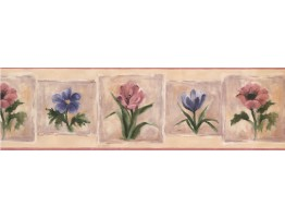 Prepasted Wallpaper Borders - Pink Blue Flowers Wall Paper Border