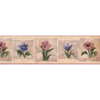 7 in x 15 ft Prepasted Wallpaper Borders - Pink Blue Flowers Wall Paper Border