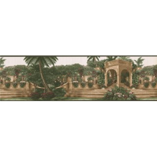 7 in x 15 ft Prepasted Wallpaper Borders - Green Palm Tree Landscape Wall Paper Border