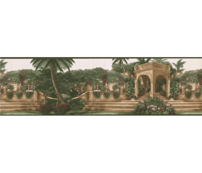 Country Wallpaper Borders: Green Palm Tree Landscape Wallpaper Border