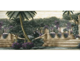 Prepasted Wallpaper Borders - Tropical Palm Tree Garden Wall Paper Border