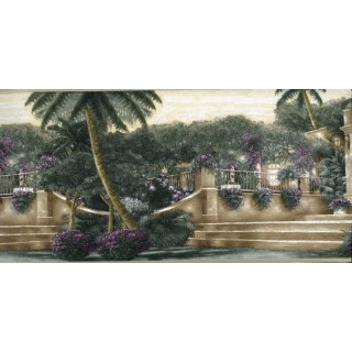 7 in x 15 ft Prepasted Wallpaper Borders - Tropical Palm Tree Garden Wall Paper Border