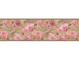 Green Watercolor Pink Floral Wallpaper Border