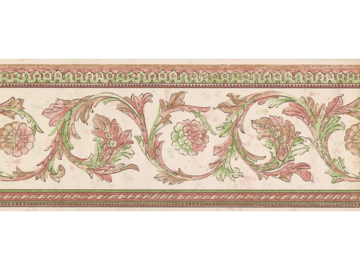 White Red Green Floral Swirls Wallpaper Border