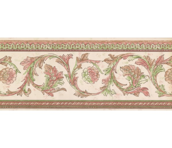 Vintage Wallpaper Borders White Red Green Floral Swirls