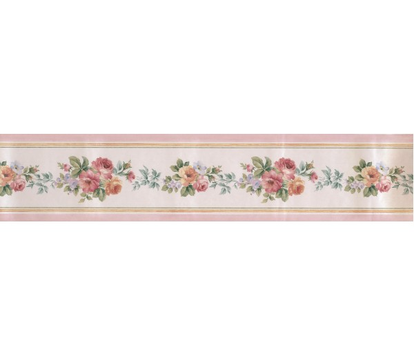 Garden Wallpaper Borders: Satin Rose Wallpaper Border