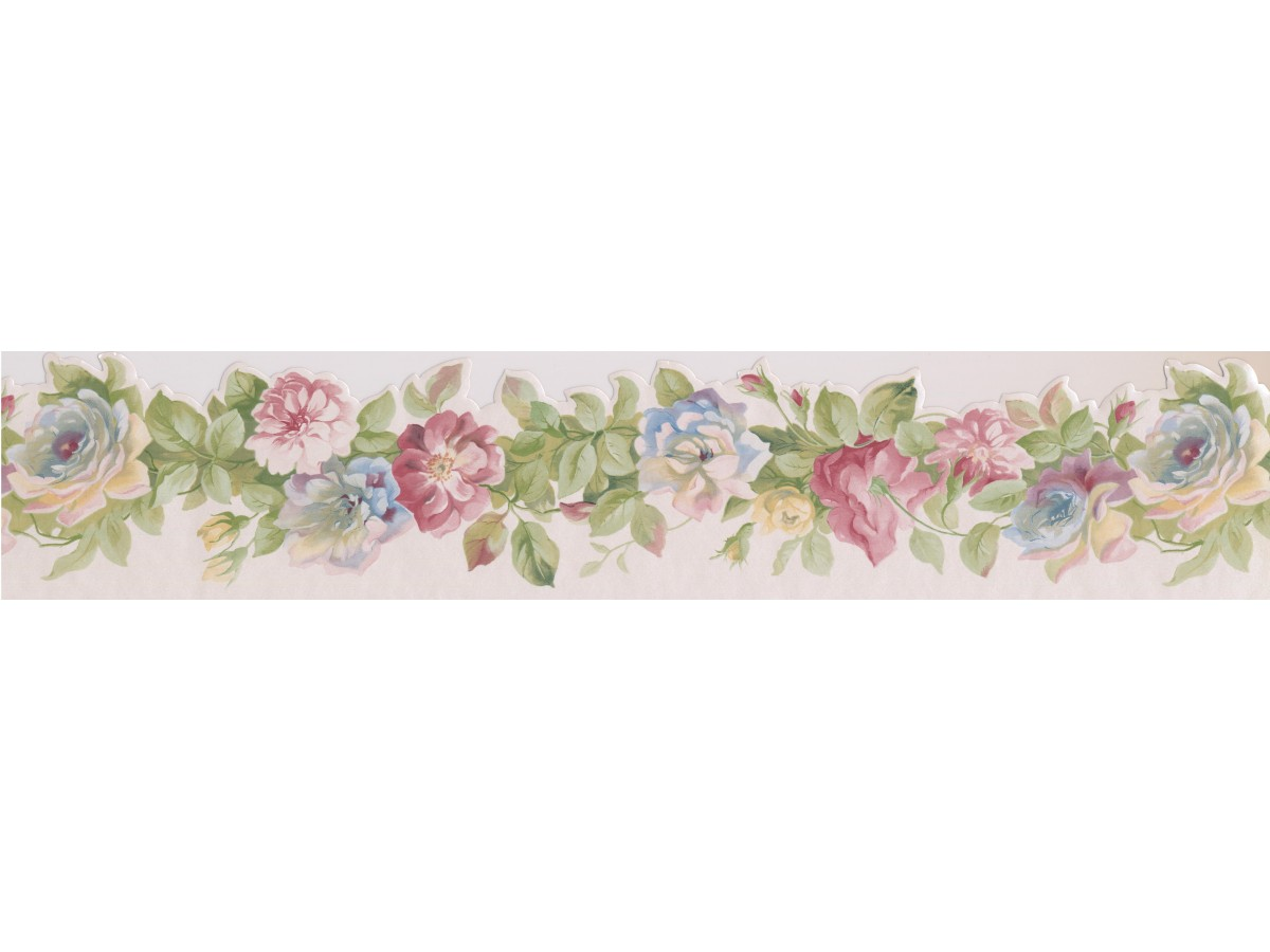 Prepasted Wallpaper Borders - Pink Red Rose Buds Wall Paper Border
