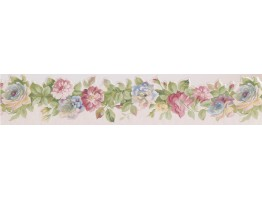 5 in x 15 ft Prepasted Wallpaper Borders - Pink Red Rose Buds Wall Paper Border