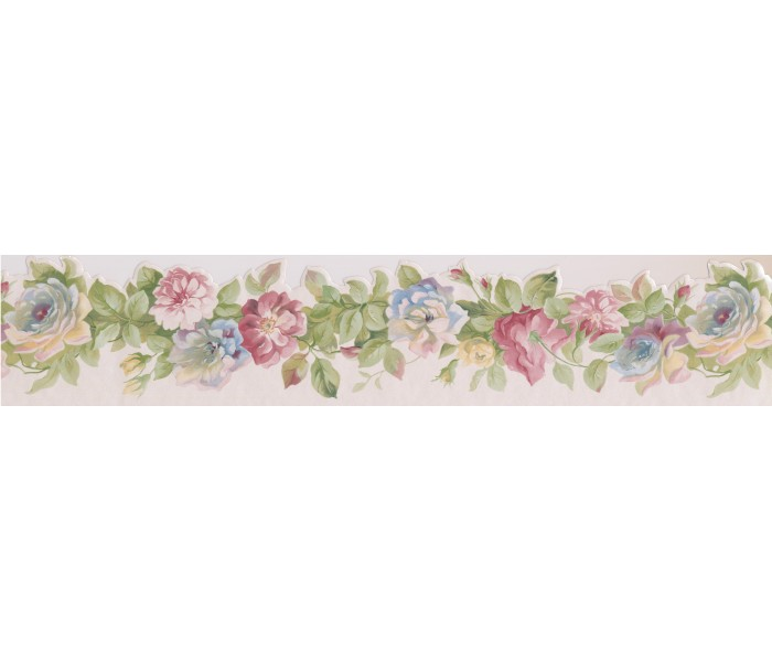 Clearance: Pink Red Rose Buds Wallpaper Border