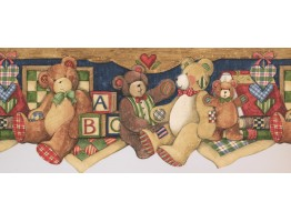 ABC Brown Gray Teddy Bear Wallpaper Border