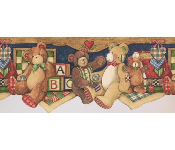 Toys ABC Brown Gray Teddy Bear Wallpaper Border